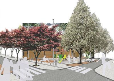 Reurbanización Barrio Xenillet. Vistas lateral Plaza.