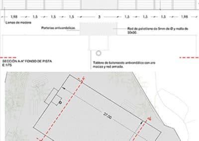 Jardín y Área recreativa la Marxadella. Detalle cancha.