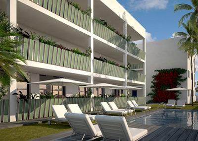 Apartamentos en playa Puçol. Detalle vista 3D