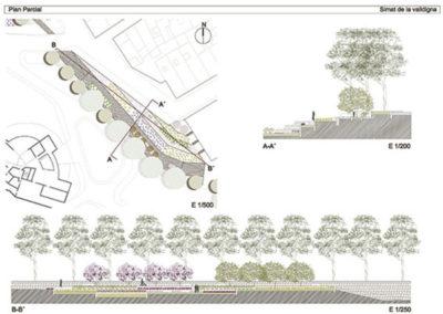 Estudio de bordes urbanos. Simat de la Valldigna.. Detalle jardín en bancales.
