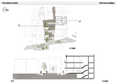 Estudio de bordes urbanos. Simat de la Valldigna. Detalle plaza.