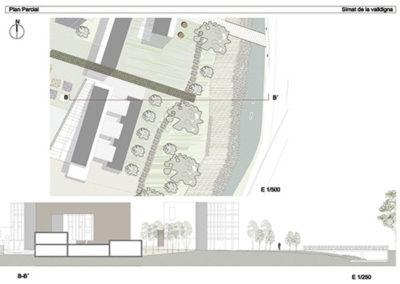 Estudio de bordes urbanos. Simat de la Valldigna. Detalle del Centro Cívico con jardín.